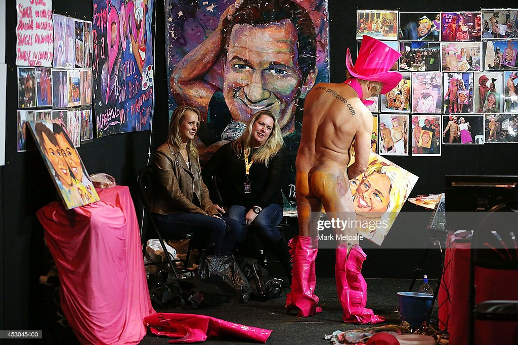 Artist Pricassso paints a portrait using his penis at the Sexpo 2014 Launch at Hordern Pavilion on August 1, 2014 in Sydney, Australia.