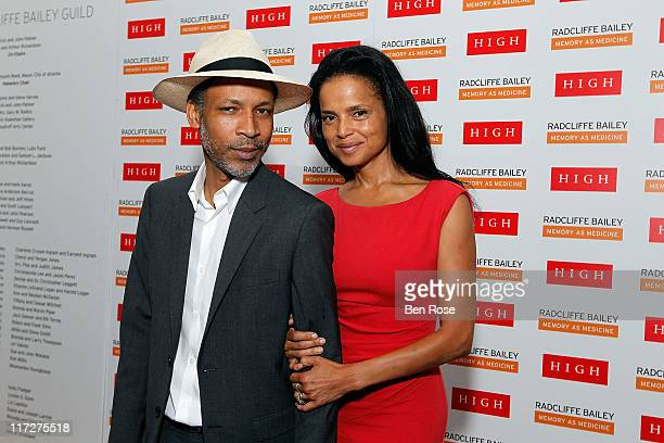Artist Radcliffe Bailey and his wife actress Victoria Rowell pose during a private reception for the opening of his exhibition Radcliffe Bailey...