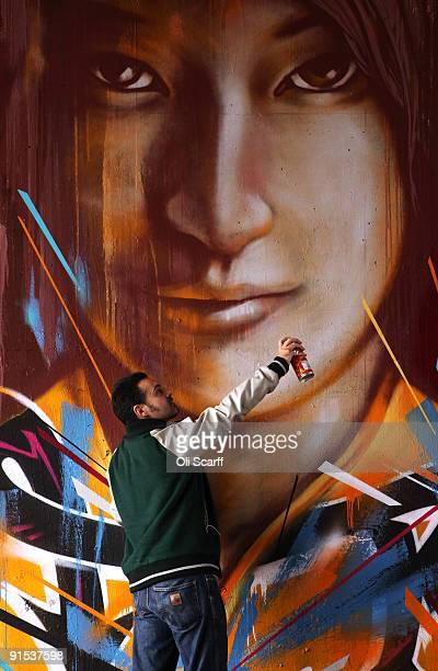 Artist 'Remi Rough' puts the finishing touches to his artwork in the 'One Foot in the Grove' exhibition of street art by 'Mutate Britain' under the...