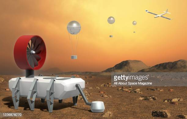 Artist rendering of an Automaton Rover for Extreme Environments spacecraft, showing the landing stages on its proposed mission to Venus, created on...