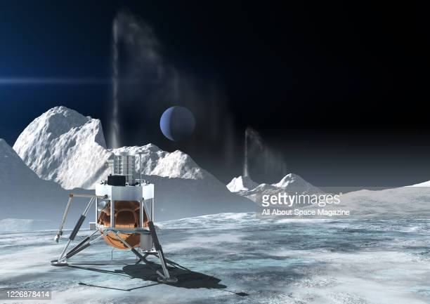 Artist rendering of proposed NASA Triton Hopper spacecraft on the surface of Triton, created on April 29, 2019. Triton is the largest moon of...