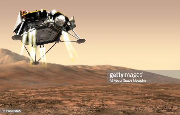 Artist rendering of the InSight robotic lander exploring the surface of Mars, created on March 29, 2018.