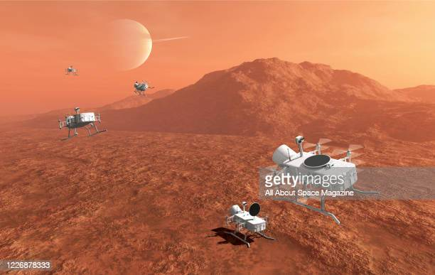 Artist rendering of the proposed Dragonfly lander spacecraft exploring the surface of Titan, a moon of the planet Saturn, created on December 7,...