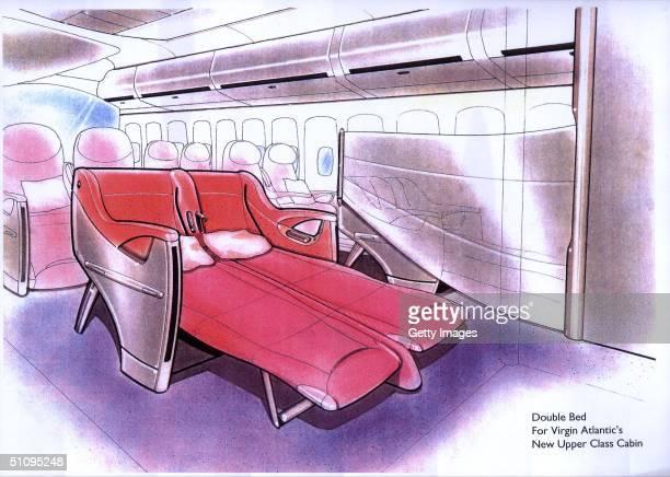 Artist Rendering Of Virgin Atlantic's New Look For The Millennium Double Bed In Virgin Atlantic's New Upper Class Cabin