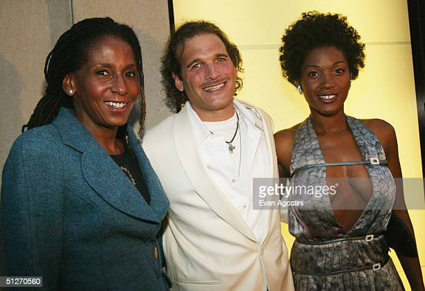 Artist Renee Cox Stylist Philip Bloch and Actress Yolonda Ross attend an Emilio Pucci Fifth Avenue store opening celebration on September 7 2004 in...