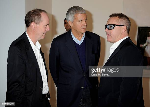 Artist Richard Prince art dealer Larry Gagosian and artist Damien Hirst attend the private view of Richard Prince's latest exhibition at the Gagosian...