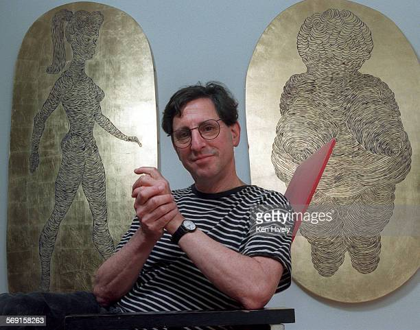 Artist Rick Oginz in his Topanga Canyon home pictured with two of his works of art 'Venus of El Segundo' and Venus of Willendorf' Profile of Oginz in...