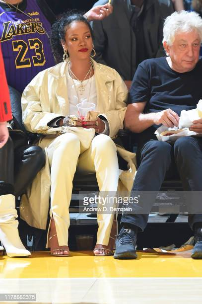 Artist Rihanna attends the game between the Los Angeles Lakers and the Utah Jazz on October 25 2019 at STAPLES Center in Los Angeles California NOTE...