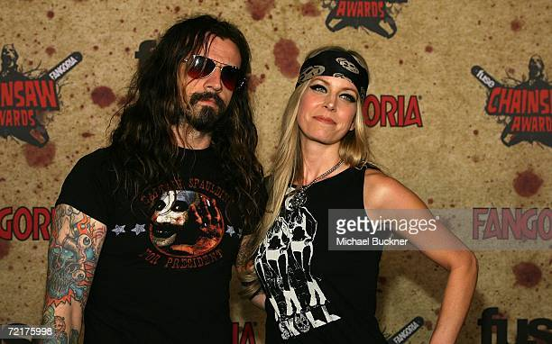 Artist Rob Zombie and actress Sheri Moon Zombie attend the fuse Fangoria Chainsaw Awards at the Orpheum Theater on October 15 2006 in Los Angeles...