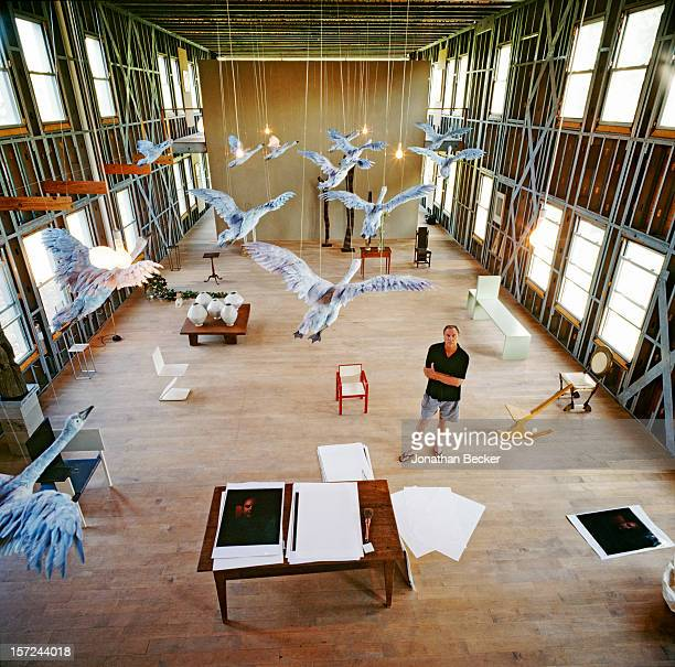 Artist Robert Wilson is photographed for Jonthan Becker's book 'Studios by the Sea' on August 16, 1999 in his studio in Water Mill, New York....