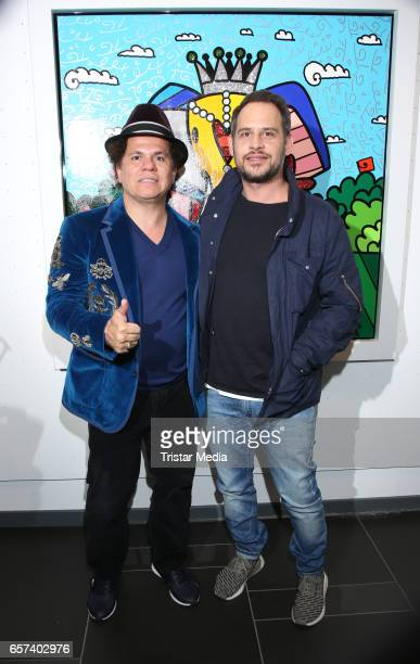 Artist Romero Britto and german actor Moritz Bleibtreu during the Vernissage 'Have A Coke With Romero Britto' in the Mensing galery on March 24 2017...