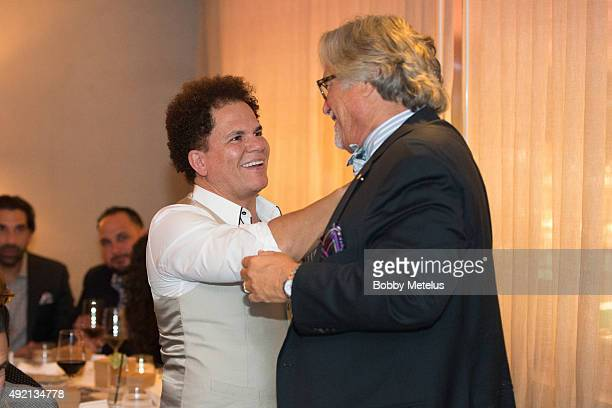 Artist Romero Britto and Miami Heat's owner Mickey Arison during dinner at Ocean Drive Magazine Celebrates its October Men's Issue with Dwyane Wade...