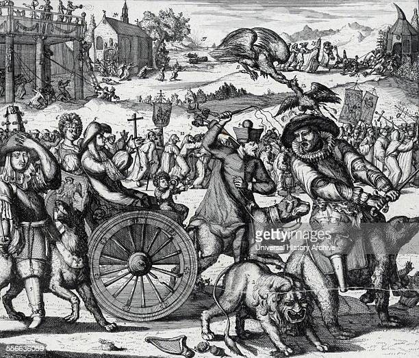 Artist Romeyn de Hooghe Print shows Louis XIV with peg leg riding a bear leading the flight of Catholicism from England He moves his sword to strike...