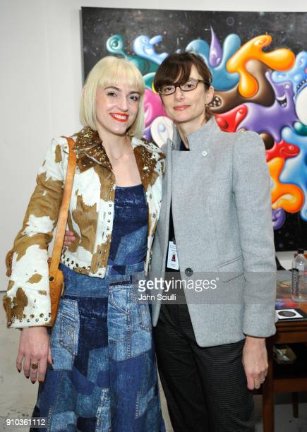 Artist Rosson Crow and gallerist Honor Fraser at OPENING NIGHT   ART LOS ANGELES CONTEMPORARY 9TH EDITION at Barkar Hangar on January 25 2018 in...