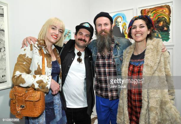 Artist Rosson Crow Jeremy Eichenbaum Eric Yahnker and Allison Schulmik at OPENING NIGHT   ART LOS ANGELES CONTEMPORARY 9TH EDITION at Barkar Hangar...