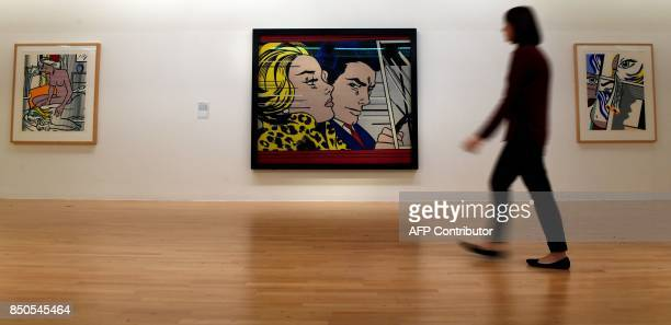 US artist Roy Lichtenstein's 'In the Car' an oil paint and magna on canvas from 1963 is seen on display at Tate Liverpool in Liverpool on September...