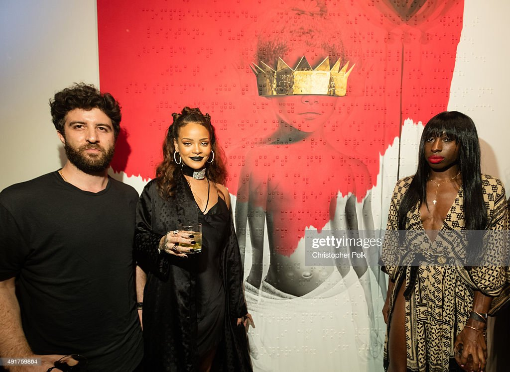 Artist Roy Nachum, singer Rihanna, and poet Chloe Mitchell at Rihanna's 8th album artwork reveal for 'ANTI' at MAMA Gallery on October 7, 2015 in Los Angeles, California.