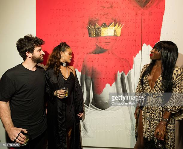 Artist Roy Nachum singer Rihanna and poet Chloe Mitchell at Rihanna's 8th album artwork reveal for 'ANTI' at MAMA Gallery on October 7 2015 in Los...