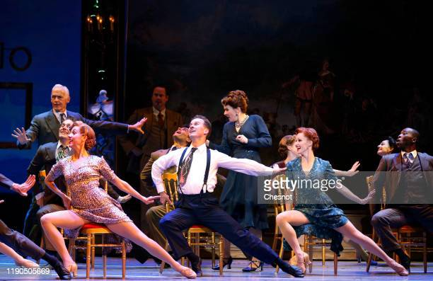 Artist Ryan Steele as Jerry Mulligan performs during the musical comedy 'An American in Paris' at 'Theatre du Chatelet' on November 27, 2019 in...