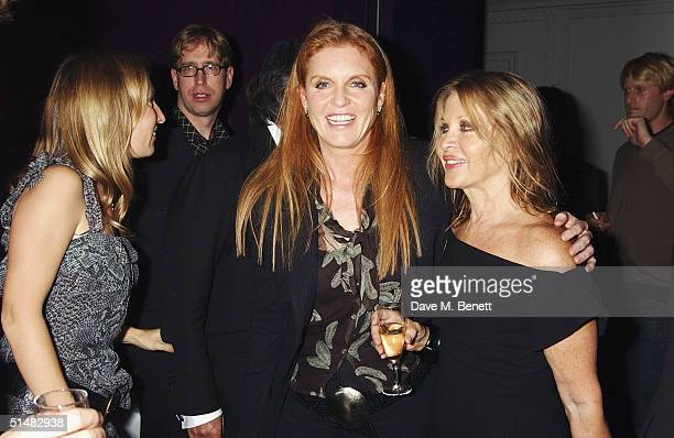 Artist Sam Taylor Wood Sarah Ferguson and Anoushka Hempel attend White Cube party at Sketch to celebrate Frieze Art week on October 14 2004 in London