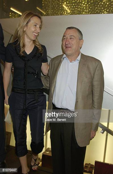 Artist Sam TaylorWood and actor Robert De Niro attend an exclusive dinner for the launch of the new Prada Epicenter Store on July 14 2004 in Los...