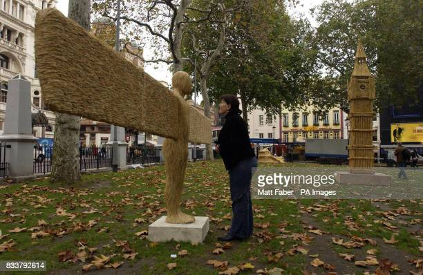 Artist Sarah Walton from Newcastle views her recreation of the Angel of the North made from wheat part of a unique exhibition in Leicester Square...
