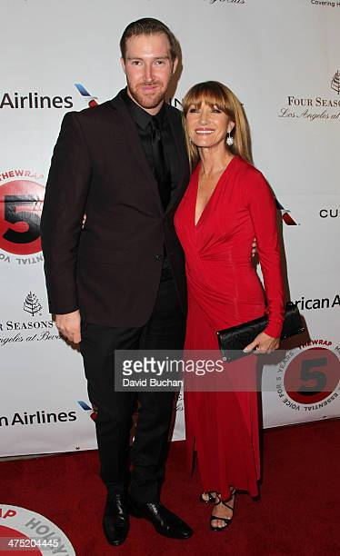 Artist Sean M Flynn and his mother actress Jane Seymour attend TheWrap's 5th Annual Oscar Party at Culina Restaurant at the Four Seasons Los Angeles...