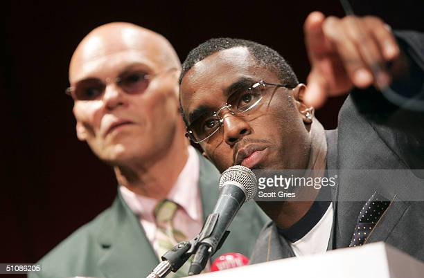 Artist Sean P Diddy Combs and political consultant James Carville speak during a press conference to announce plans for the Citizen Change Campaign...