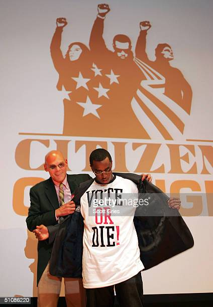Artist Sean P Diddy Combs and political consultant James Carville pose for photos during a press conference to announce plans for the Citizen Change...