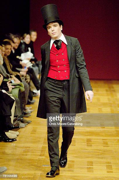 Artist Sebastian Horsley walks down the catwalk during the Comme Des Garcons Homme Plus fashion show as part of Paris Menswear Autumn/Winter 2007 on...