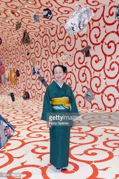 Artist Setsuko Klossowska de Rola poses during the Furoshiki Paris Press Preview at Hotel de Ville on October 31 2018 in Paris France