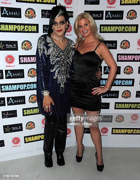 Artist Sham Ibrahim and personality Liz Crokin at the Art Exhibition Red Carpet Event Unveiling Of Celeb Selfies Portrait Series By Pop Artist Sham...
