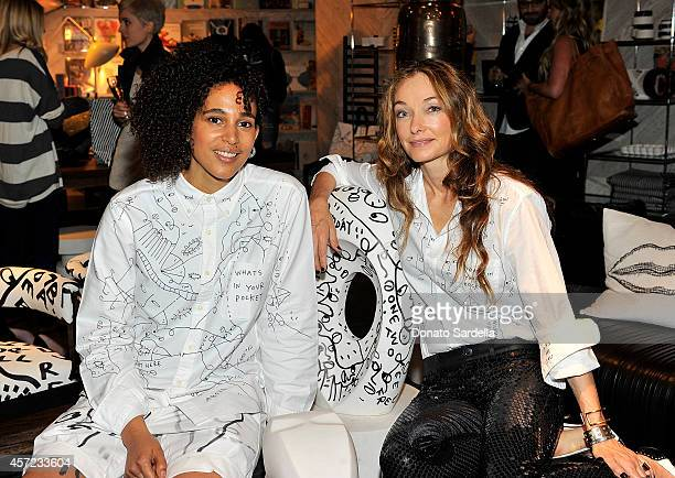 Artist Shantell Martin and Interior designer Kelly Wearstler attend Kelly Wearstler x Shantell Martin Collection Launch on October 14 2014 in Los...