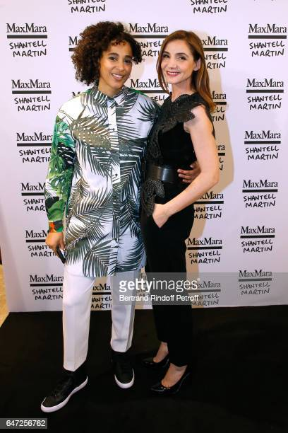 Artist Shantell Martin and Princess of Savoy Clotilde Courau attend the Max Mara 'Prism in Motion' Eventas with the presentation of the new...