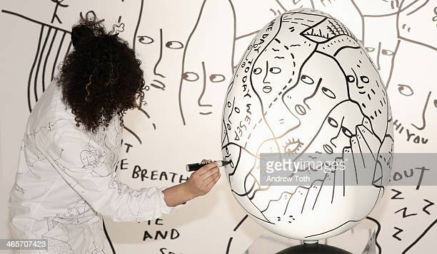 Artist Shantell Martin attends Faberge Big Egg Hunt Cocktail Countdown event on January 28 2014 in New York City New York