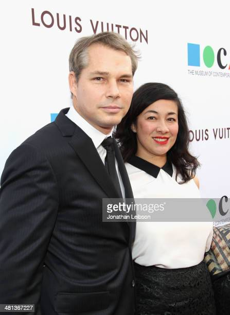Artist Shepard Fairey and Amanda Fairey attend MOCA's 35th Anniversary Gala presented by Louis Vuitton at The Geffen Contemporary at MOCA on March 29...