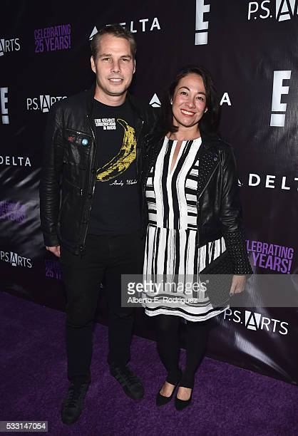 Artist Shepard Fairey and Amanda Fairey attend PS Arts' The pARTy at NeueHouse Hollywood on May 20 2016 in Los Angeles California