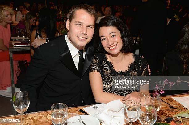 Artist Shepard Fairey and Amanda Fairey attend The Art of Elysium 2016 HEAVEN Gala presented by Vivienne Westwood Andreas Kronthaler at 3LABS on...