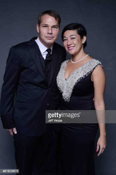 Artist Shepard Fairey and Amanda Fairey pose for a Wonderwall portrait at The Art of Elysium's 7th Annual HEAVEN Gala presented by MercedesBenz at...