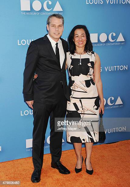 Artist Shepard Fairey and wife Amanda Fairey arrive at the 2015 MOCA Gala presented by Louis Vuitton at The Geffen Contemporary at MOCA on May 30...