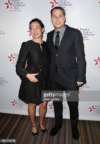 Artist Shepard Fairey and wife Amanda Fairey attend the 2015 Spirit of Liberty Awards dinner at the Beverly Wilshire Four Seasons Hotel on December...
