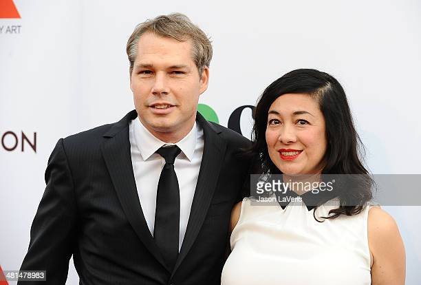 Artist Shepard Fairey and wife Amanda Fairey attend the MOCA 35th anniversary gala celebration at The Geffen Contemporary at MOCA on March 29 2014 in...