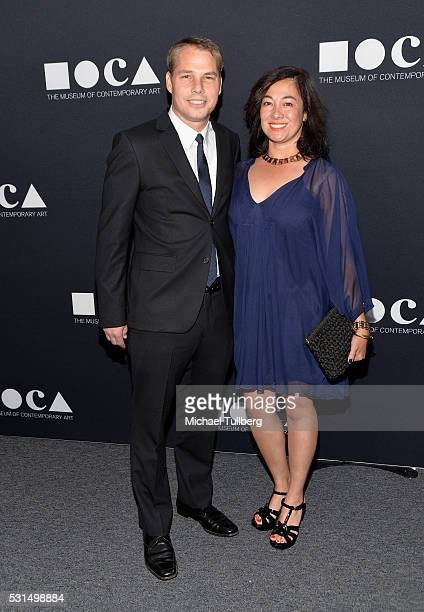 Artist Shepard Fairey and wife Amanda Fairey attend the MOCA Gala 2016 at The Geffen Contemporary at MOCA on May 14 2016 in Los Angeles California