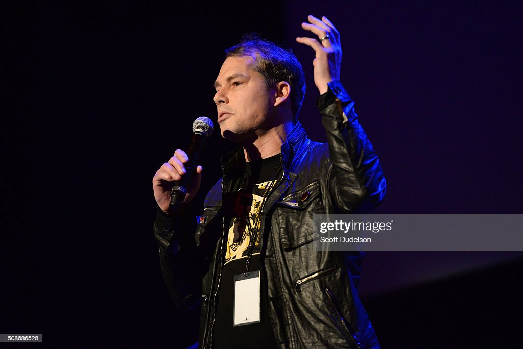 Artist Shepard Fairey speaks onstage during the 'Feel the Bern' fundraiser for Presidential candidate Bernie Sanders at Ace Theater Downtown LA on February 5, 2016 in Los Angeles, California.