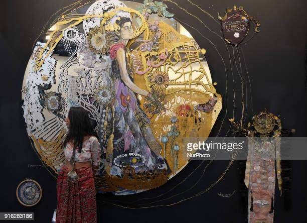 "Artist Shilo Shiv Suleman stands in front of her art installation called ""Solstice"" at the India Art Fair 2018 held on the Okhla NSIC..."