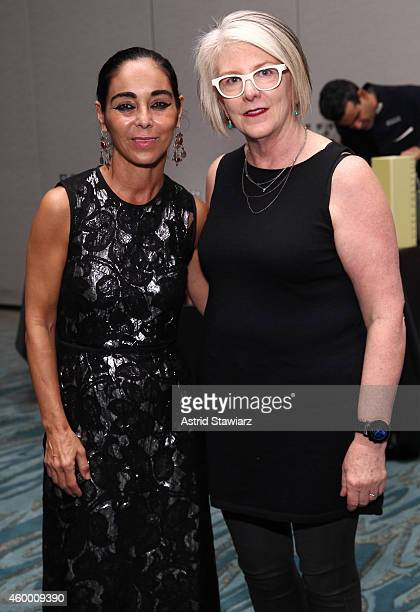 Artist Shirin Neshat and Becky Hart Associate Curator Detroit Institute of Arts attend TOME 'A Portrait Of Woman' at Ritz Carlton South Beach on...