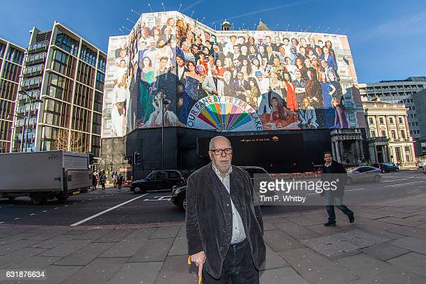 Artist Sir Peter Blake poses for a photo in front of Mandarin Oriental Hyde Park as a new artwork 'Our Fans' by Sir Peter Blake is unveiled on...