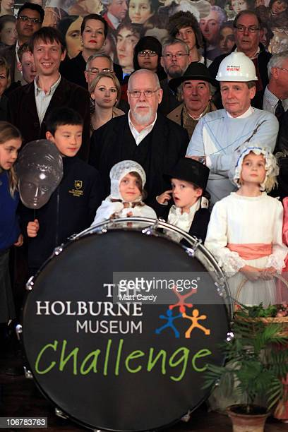 Artist Sir Peter Blake poses for a photograph in an attempt to evoke his 1967 iconic album cover 'Sgt Pepper's Lonely Hearts Club Band' for The...