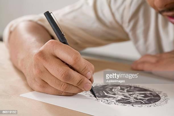 Artist sketching
