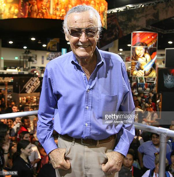 """Artist Stan Lee is presented with the """"All Time Marvel Legend Award"""" by Hasbro at Comic Con 2007 on July 27, 2007 in San Diego, California."""